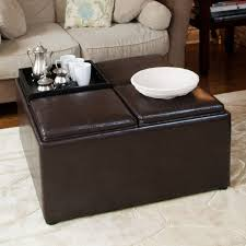 White Leather Coffee Table Ottoman Simple Latest Dark Brown Minimalist Wooden Round Leather