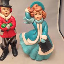 Vintage Atlantic Mold Ceramic Christmas Tree by Vintage Pair Atlantic Mold Christmas Carolers Figurines 8 5 Tall