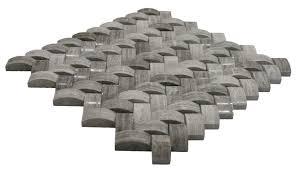 3d polished grey basket weave stone tile subway tile outlet
