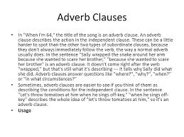 types of subordinate clauses directections read through this and