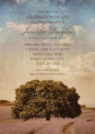 Funeral Service Invitation Oak Tree Lavender Field Memorial Service Invitations