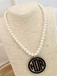 pearl monogram necklace monogrammed necklace pearl style necklace with monogram acrylic
