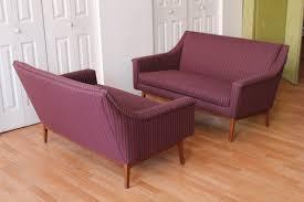 pair of mid century modern walnut jens risom upholstered sofas