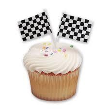Checkered Racing Flags Cupcake Favor Pick Toppers Checkered Racing Flags 24 Cupcake