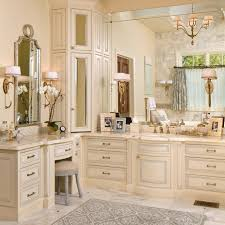 bahtroom modern l shaped bathroom vanity to set in gorgeous modern sweet bathroom with pastel wall paint and amusing hanging lamp plus interesting l shaped bathroom vanity closed big mirror near pretty flower decor on pot