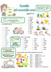 Countable And Uncountable Nouns Teaching Teaching Worksheets Countable And Uncountable Nouns