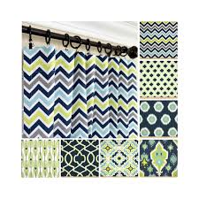 Peacock Curtains Navy Blue Window Curtains Lime Green Drapes Gray