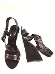 giorgio armani brown croc patterned leather wedge heel slingback