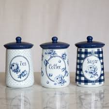 vintage indigo set of 3 ceramic storage jars tea coffee u0026 sugar