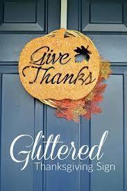 glittered thanksgiving sign