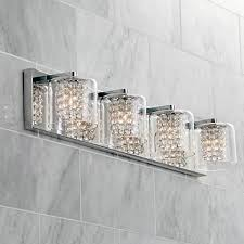 Possini Euro Coco 4 Light 28 1 2 W Clear Crystal Bath Light Chrome Four Fixture Bathroom