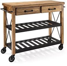 industrial iron wood kitchen trolley natural black buy kitchen amazon com crosley furniture roots rack industrial rolling kitchen