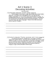 themes in othello act 1 scene 3 othello act 1 scene 3 and act 2 scene 1 decoding activities tpt