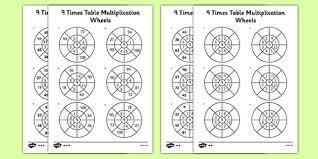 wheels world play table 9 times table multiplication wheels worksheet activity sheet