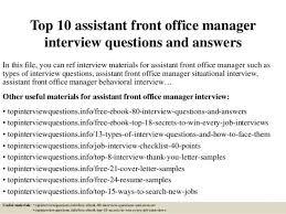 Cover Letter For Front Desk Position Assistant Front Office Manager Cover Letter