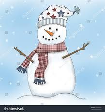 snowman illustration red plaid scarf star stock illustration