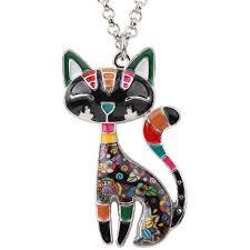 black cat pendant necklace images Enamel cat pendant necklace chubbycat store jpg