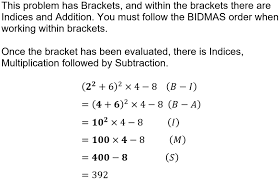 gcse bidmas to help with the order of operation in maths