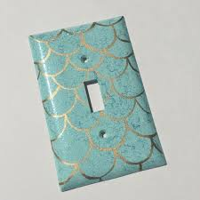 mermaid scales single toggle light switch plate wallplate by