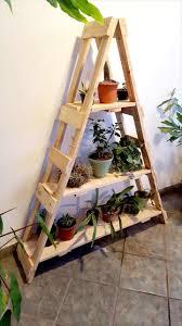 Diy Ladder Bookshelf Pallet Ladder Shelf For Planters 99 Pallets