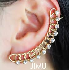 cuff earrings with chain buy big discount 2014 new arrival fashion personality chain