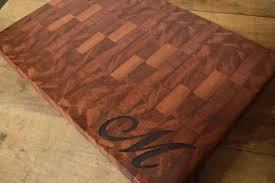 end grain butcher block cutting board sapele engraved family