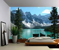 peel and stick vinyl wallpaper banff canada rocky mountain lake landscape self adhesive vinyl