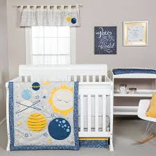 amazon com trend lab galaxy 3 piece crib bedding set blue gray