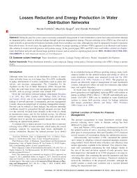 losses reduction and energy production in water distribution