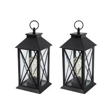 gerson 11 in h battery operated black plastic lantern with 10