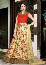 buy online gowns for girls cream u0026 red embroidered indian party gown