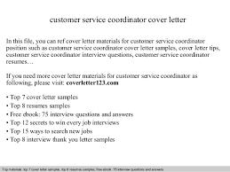 Resume Cover Letter Sample For Customer Service by Customer Service Coordinator Cover Letter