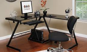 Glass L Shaped Desk Black Glass Desk For Desktop Computer And Laptop Finding Desk