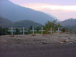 crosses on the side of the road around the and back