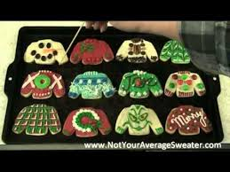 ugly christmas sweater party activity decorating sweater cookies