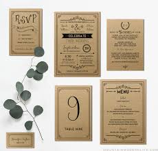 kraft paper wedding programs printable black rustic vintage diy wedding invitation set