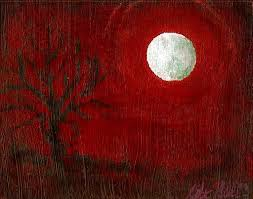 blood red paint blood red sky moon tree painting acrylic art on by katimillsart