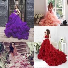princess orange pink burgundy purple wedding dresses cascading