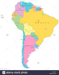 Map Of States With Capitals by Political Map Of South America With Single States Capitals And