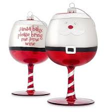 baby wine glass ornaments set of 2