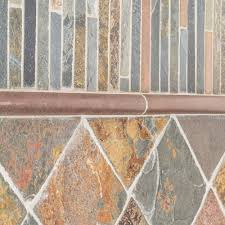 Rusty Brown Slate Mosaic Backsplash by Slate Mosaic Tile Tile The Home Depot