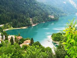 rivers italy houses scenery rivers nature forests molveno