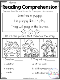 kindergarten reading passage kindergarten reading comprehension fall edition kindergarten
