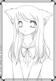 coloring pages girls cute cat eyes coloring