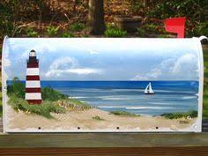 Nautical Themed Mailboxes - handpainted flag mailbox tropical art frangipani plumeria beach