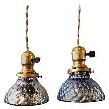 Glass Pendant Pair Of Petite Blue Mercury Glass Pendant Lights With Brass