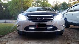 6k 55w hid headlights with led strips and led drls taurus car