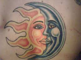 awesome multicolored half moon half sun on shoulder