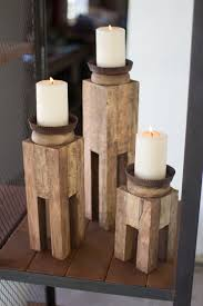 the kalalou square recycled wood candle holders are unique candle