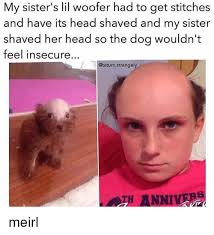 Shaved Head Meme - my sister s lil woofer had to get stitches and have its head shaved